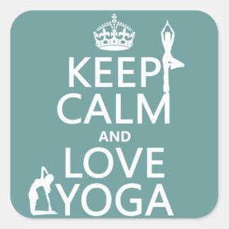 Guarde la calma y ame la yoga (los colores adaptab pegatinas cuadradases