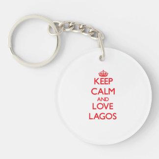 Guarde la calma y ame Lagos Llavero Redondo Acrílico A Una Cara
