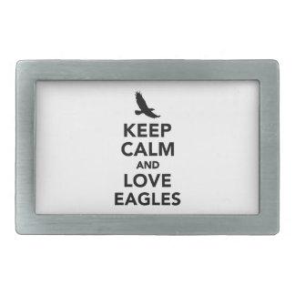 Guarde la calma y ame las águilas hebillas cinturón rectangulares