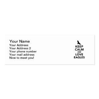 Guarde la calma y ame las águilas tarjetas de visita mini