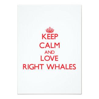 """Guarde la calma y ame las ballenas derechas invitación 5"""" x 7"""""""