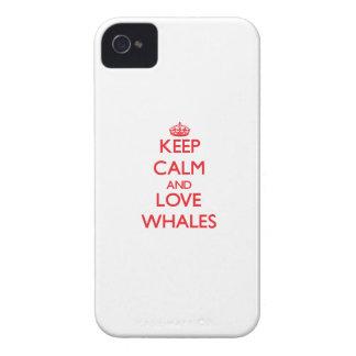 Guarde la calma y ame las ballenas iPhone 4 cobertura