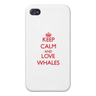 Guarde la calma y ame las ballenas iPhone 4/4S carcasa