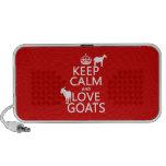 Guarde la calma y ame las cabras (cualquier color  altavoces de viajar