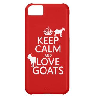 Guarde la calma y ame las cabras (cualquier color  funda para iPhone 5C