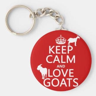 Guarde la calma y ame las cabras (cualquier color llavero redondo tipo pin