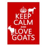 Guarde la calma y ame las cabras (cualquier color  postal