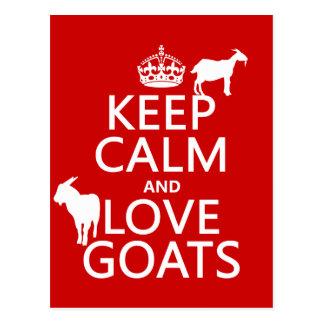 Guarde la calma y ame las cabras (cualquier color  postales