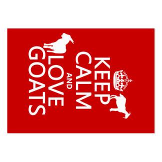 Guarde la calma y ame las cabras (cualquier color tarjetas de visita grandes
