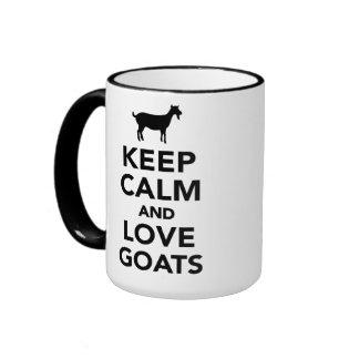 Guarde la calma y ame las cabras taza a dos colores
