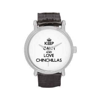 Guarde la calma y ame las chinchillas relojes de pulsera