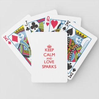 Guarde la calma y ame las chispas baraja de cartas
