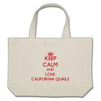 Guarde la calma y ame las codornices de California Bolsas De Mano