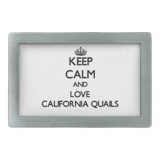 Guarde la calma y ame las codornices de California Hebillas De Cinturón Rectangulares