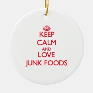 Guarde la calma y ame las comidas de desperdicios ornamento de navidad