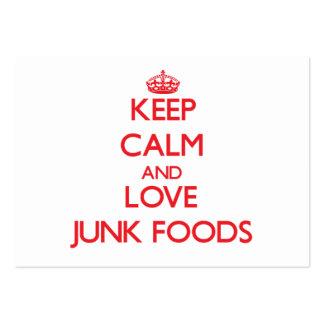 Guarde la calma y ame las comidas de desperdicios tarjeta de visita