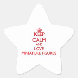 Guarde la calma y ame las figuras miniatura pegatina forma de estrella personalizada