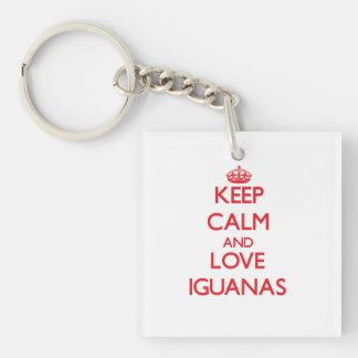 Guarde la calma y ame las iguanas llavero cuadrado acrílico a doble cara