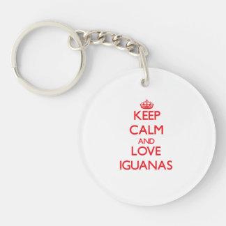 Guarde la calma y ame las iguanas llavero redondo acrílico a una cara