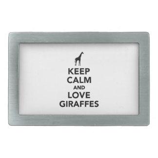 Guarde la calma y ame las jirafas hebillas de cinturon rectangulares
