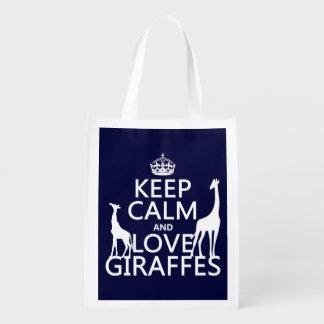 Guarde la calma y ame las jirafas - todos los bolsa para la compra