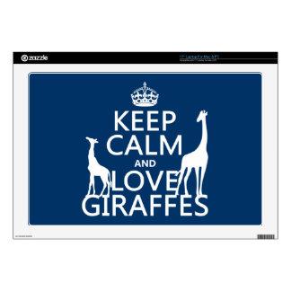 Guarde la calma y ame las jirafas - todos los calcomanía para 43,2cm portátil