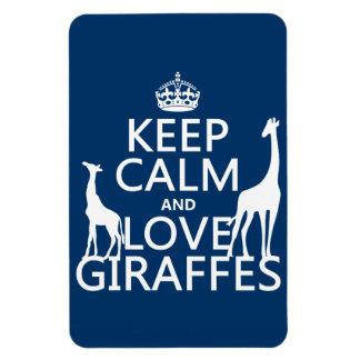 Guarde la calma y ame las jirafas - todos los colo imán de vinilo