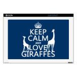 Guarde la calma y ame las jirafas - todos los colo portátil calcomanía