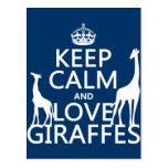 Guarde la calma y ame las jirafas - todos los colo tarjetas postales