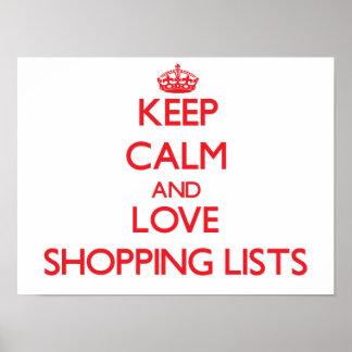Guarde la calma y ame las listas de compras posters