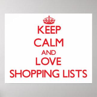 Guarde la calma y ame las listas de compras poster