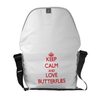 Guarde la calma y ame las mariposas bolsa messenger
