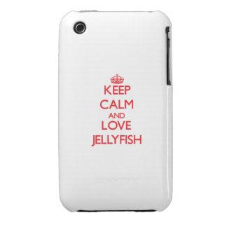 Guarde la calma y ame las medusas iPhone 3 Case-Mate cárcasas