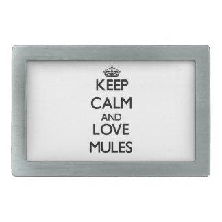 Guarde la calma y ame las mulas hebilla de cinturón rectangular