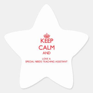 Guarde la calma y ame las necesidades de un Specia Calcomania Forma De Estrella Personalizadas