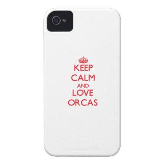 Guarde la calma y ame las orcas iPhone 4 Case-Mate cárcasa