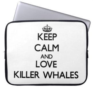 Guarde la calma y ame las orcas mangas portátiles
