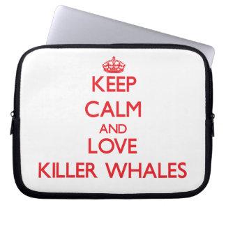Guarde la calma y ame las orcas funda computadora