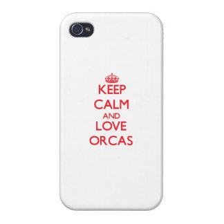 Guarde la calma y ame las orcas iPhone 4 coberturas