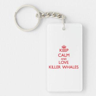 Guarde la calma y ame las orcas llavero rectangular acrílico a doble cara