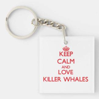 Guarde la calma y ame las orcas llavero cuadrado acrílico a una cara