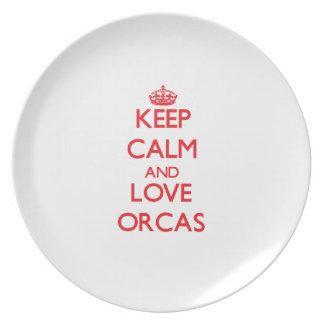 Guarde la calma y ame las orcas plato de comida