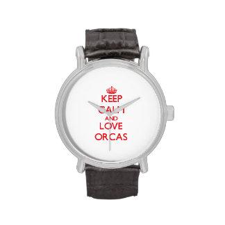 Guarde la calma y ame las orcas relojes de mano
