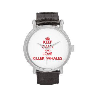 Guarde la calma y ame las orcas relojes