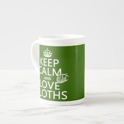 Guarde la calma y ame las perezas (cualquier color tazas de porcelana