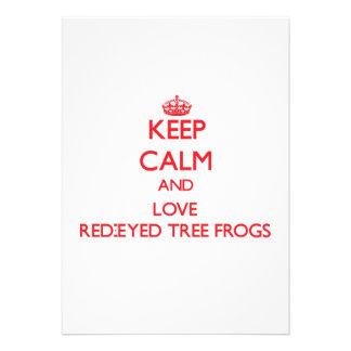 Guarde la calma y ame las ranas arbóreas Rojo-Obse Comunicado