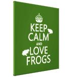 Guarde la calma y ame las ranas (cualquier color d impresiones en lona estiradas