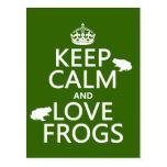 Guarde la calma y ame las ranas (cualquier color d tarjetas postales