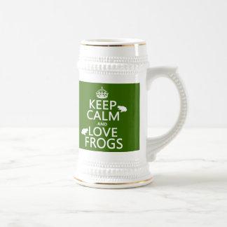 Guarde la calma y ame las ranas (cualquier color d taza