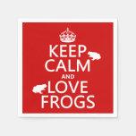 Guarde la calma y ame las ranas (cualquier color servilleta desechable